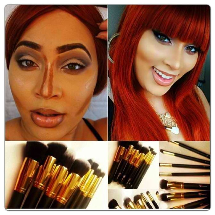 Gold Kabuki brush set from RC Cosmetics