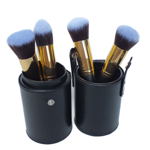 Gold Premium 4 Piece Synthetic Kabuki Makeup Brush Set and Mini Leather Brush Cup Holder Case From Royal Care Cosmetics
